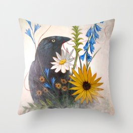 Crow With Red Thread Throw Pillow