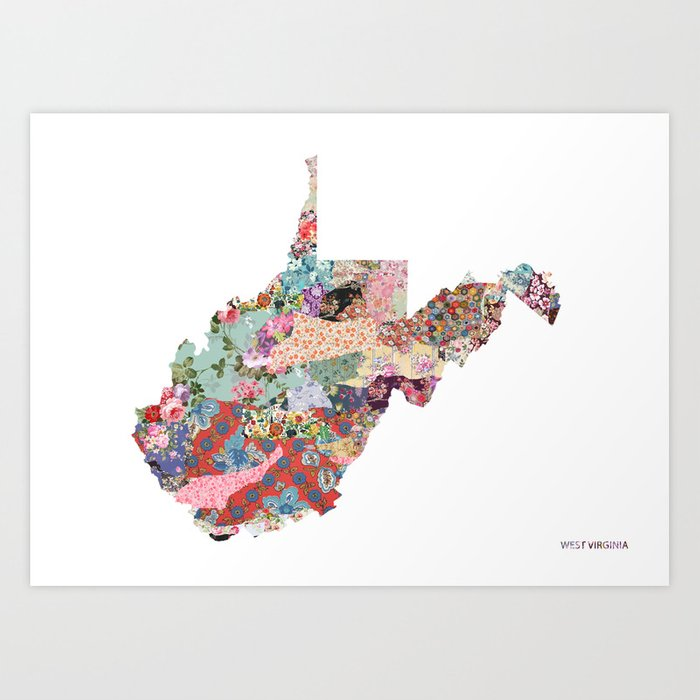 West Virginia Map Landscape Art Print By Poeticmaps Society6