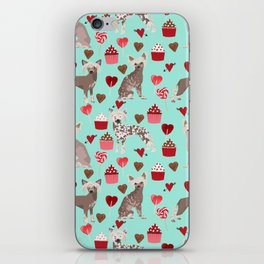 Chinese Crested valentines day cupcakes hearts gifts for unique dog breed owners love iPhone Skin