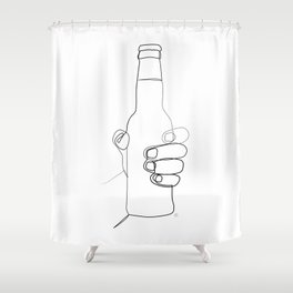 """"""" Kitchen Collection """" - Hand Holding Beer Bottle Shower Curtain"""