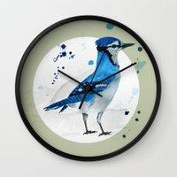jay fleck Wall Clocks featuring Blue Jay by Condor