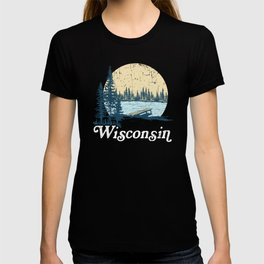 Vintage Wisconsin Dock on a Lake T-shirt