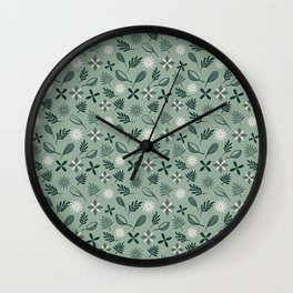 Cool greens pattern Wall Clock
