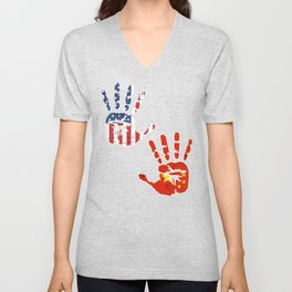 USA China Handprint & Flag | Proud Chinese American Heritage, Biracial American Roots, Culture, Unisex V-Neck