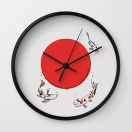 Koi and Sun Wall Clock