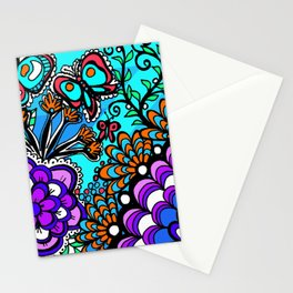 Doodle Art Flowers and Butterflies Stationery Cards