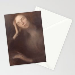 Woman Leaning on a Table by Eugene Carriere Stationery Cards