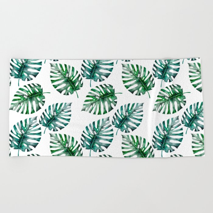 Tropical Foliage Monstera Pattern on #Society6 Beach Towel