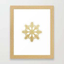 Gold Glitter Snowflake Framed Art Print