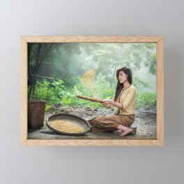 Asian Woman Sowing Rice Framed Mini Art Print