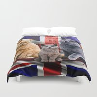 british flag Duvet Covers featuring British Shorthair by Selina Morgan