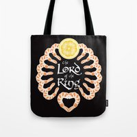 lord of the ring Tote Bags featuring Lord of the Shrimp Ring by LucyDynamite