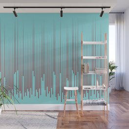 Red Pastel Blue Frequency Line Art Pattern 2021 Color of the Year Passionate and Breezy Aqua  Wall Mural