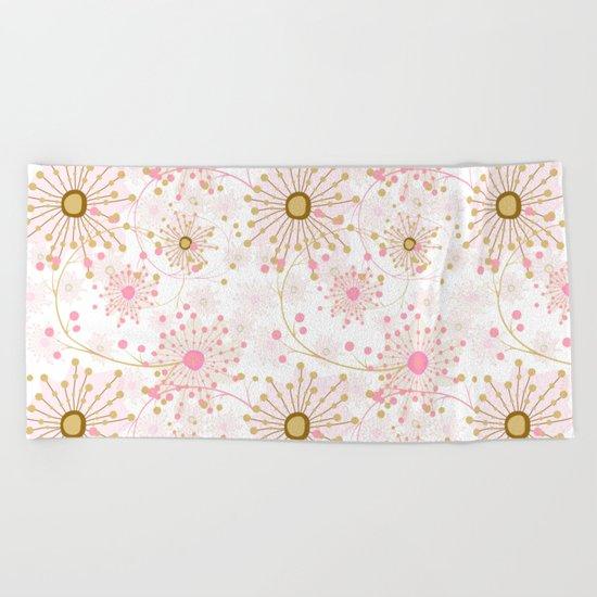 Retro . Abstract pattern Dandelions . Beach Towel
