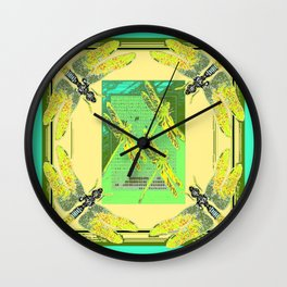 Green Dragonfly Season Wall Clock