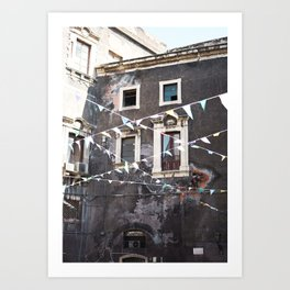 Grey Building & Confetti Flags | Catania, Italy travel photography | Bright and pastel colored photo art print Art Print