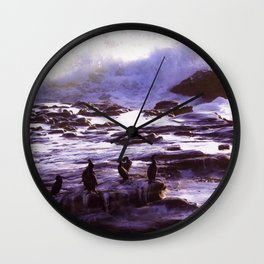 Cormorant Rock in the Waves by Reay of Light Wall Clock
