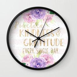 Kindness & Gratitude Wall Clock