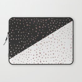 Speckled Rose Gold Flakes on Black White Geometric Laptop Sleeve
