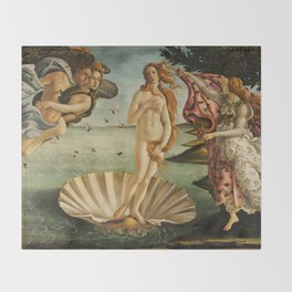 The Birth of Venus - Nascita di Venere by Sandro Botticelli Throw Blanket