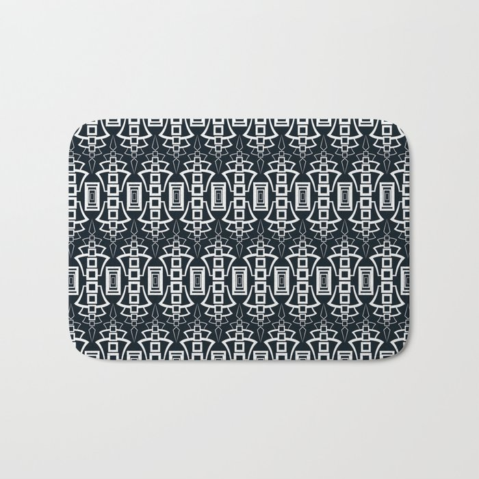 "Art Deco . ""Grey and gray . "" Bath Mat"