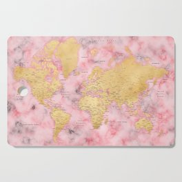 Gold and pink marble world map Cutting Board