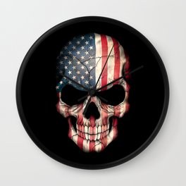 American Flag Skull on Black Wall Clock