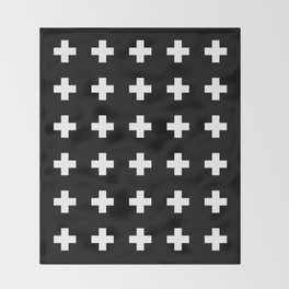 Swiss Cross Black Throw Blanket