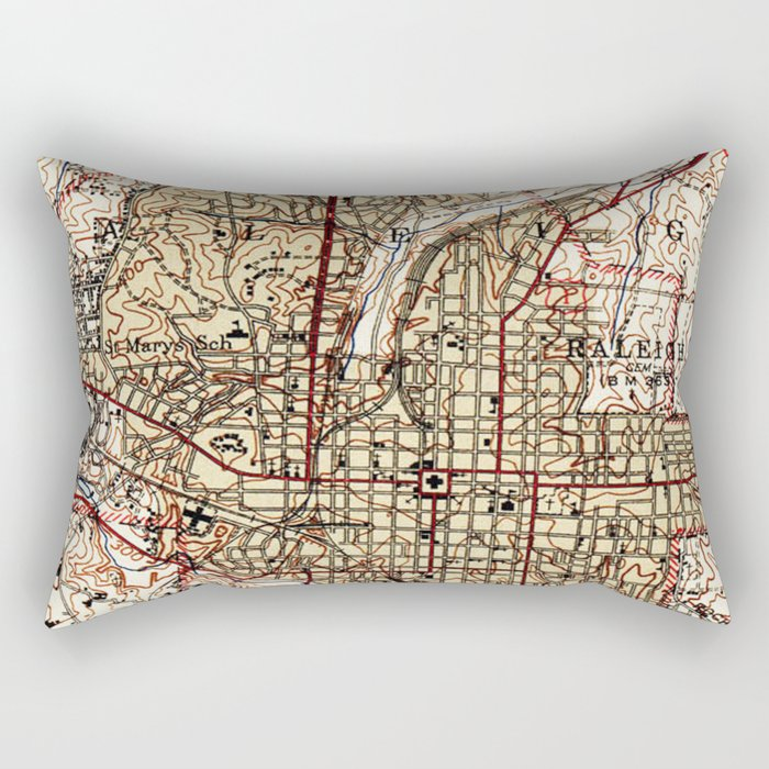 Vintage Map of Raleigh North Carolina (1940) Rectangular Pillow