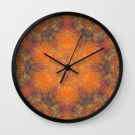 mandala 1 orange #mandala #orange Wall Clock