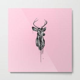 Deer Head III (pastel pink) Metal Print