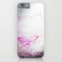 sketch of a girl with funky hair and horn-rimmed glasses reading adventure novel iPhone Case