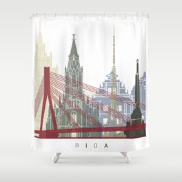 Riga skyline poster Shower Curtain