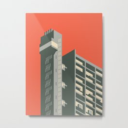Trellick Tower London Brutalist Architecture - Plain Red Metal Print