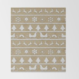 Gold & White Christmas Ugly Sweater Nordic Knit Throw Blanket