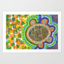 Weird Turtle in picturesque Blobs Pattern Art Print