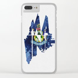 Maine Typographic Flag Map Art Clear iPhone Case