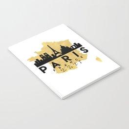 PARIS FRANCE SILHOUETTE SKYLINE MAP ART Notebook