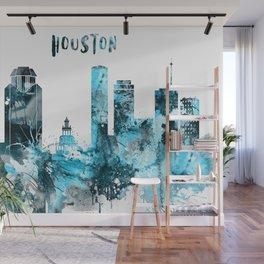 Houston Monochrome Blue Skyline Wall Mural