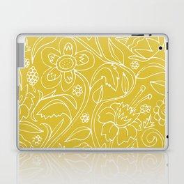 Garden Floral Drawing on Yellow Laptop & iPad Skin