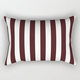 Narrow Vertical Stripes - White and Dark Sienna Brown Rectangular Pillow