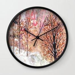 Blood Moon Skies over Snowy Dewdrop Holler Wall Clock
