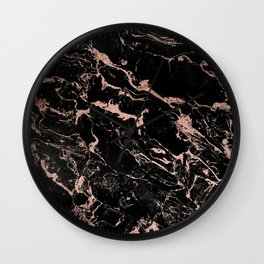 Modern girly faux rose gold foil black marble Wall Clock