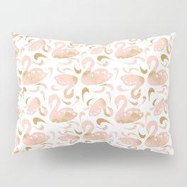 Block Swans Peach and Gold Pattern Pillow Sham