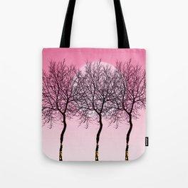 Triplet trees in pink Tote Bag