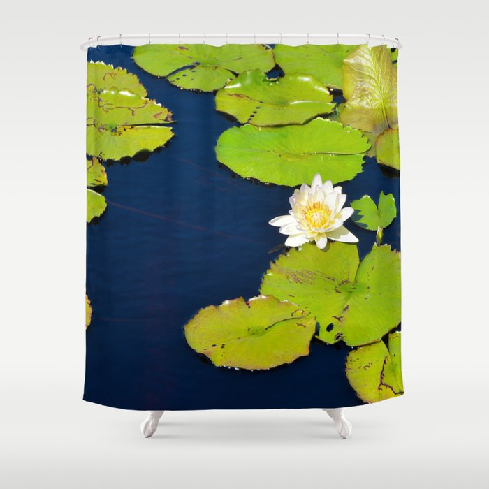 Dark Blue Pond by Teresa Thompson Shower Curtain
