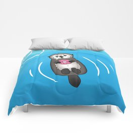 Sea Otter with Donut - Cute Otter Holding Doughnut Comforters
