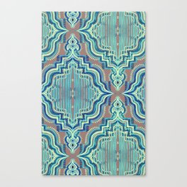 Marker Moroccan in Aqua, Cobalt Blue, Taupe & Teal Canvas Print