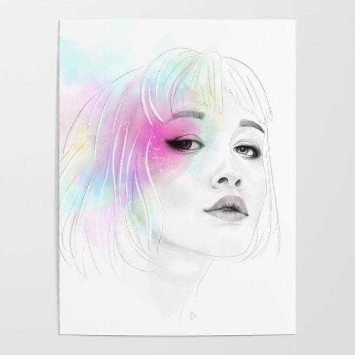 Pastel glowing Girl digital portrait Poster