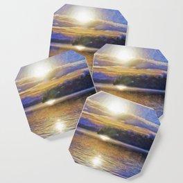 Sun Rising Over Lake - Art Edit Coaster